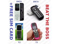 BEAT THE BOSS Phones - BM50, BM70, T3, Melrose - Small Tiny Plastic Phones - Wholesale Prices
