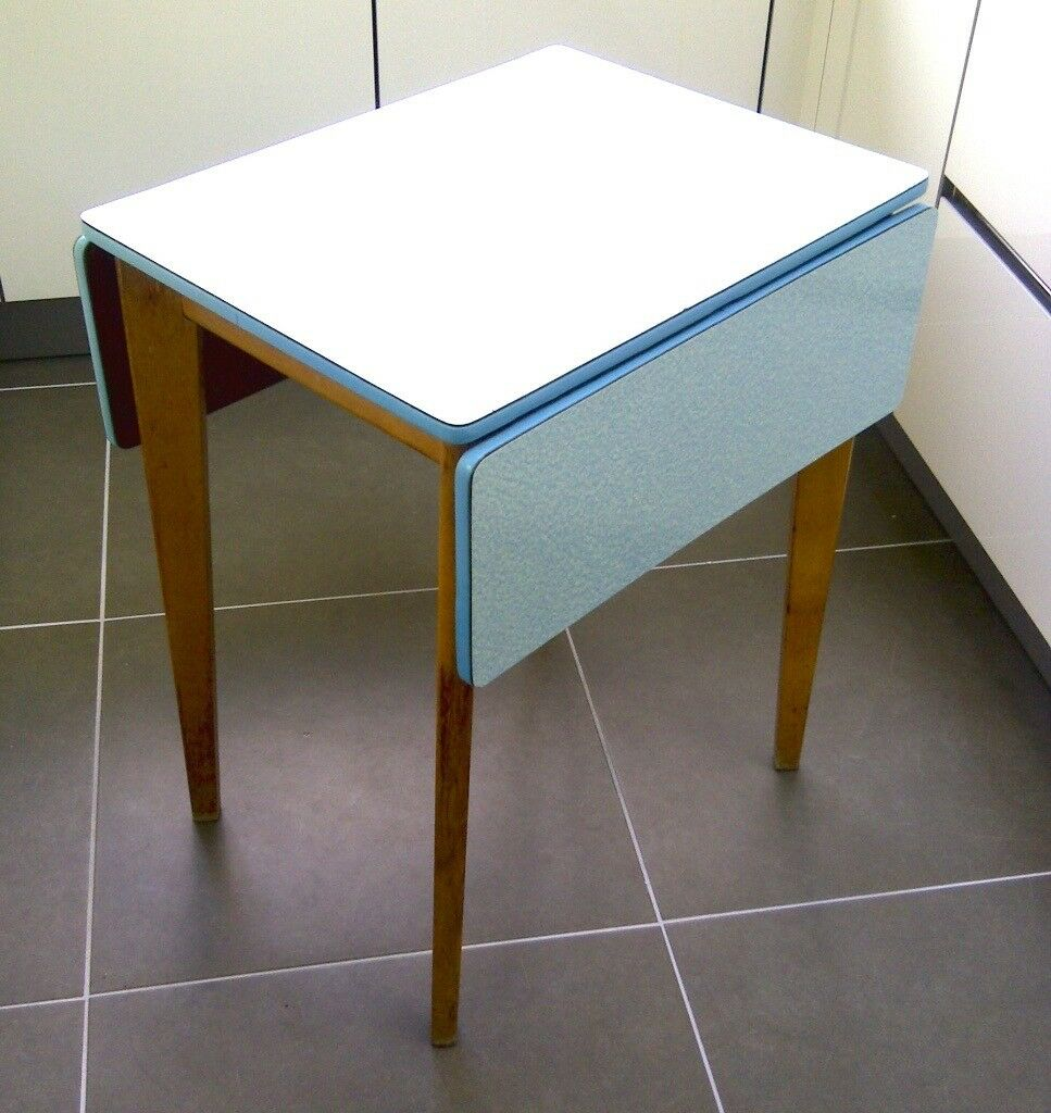 SOLD!!! Authentic Vintage Mid Century Blue Kitchen Table Cool Danish ...