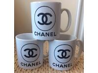 Set Of 3 Chanel Inspired Coffee Mugs.
