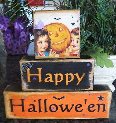 Shelf Sitter Blocks Stackables Happy Halloween Pumpkin Bats (Blocks Happy Halloween)