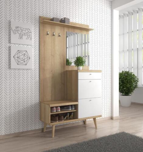 Beroemd ≥ Kapstok Meubella Scandinavisch hout wit schoenenkast 110 cm &GQ38