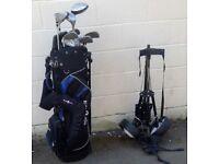 Full Set of Golf Clubs, Topflite Golf Bag & Donnay Golf trolley