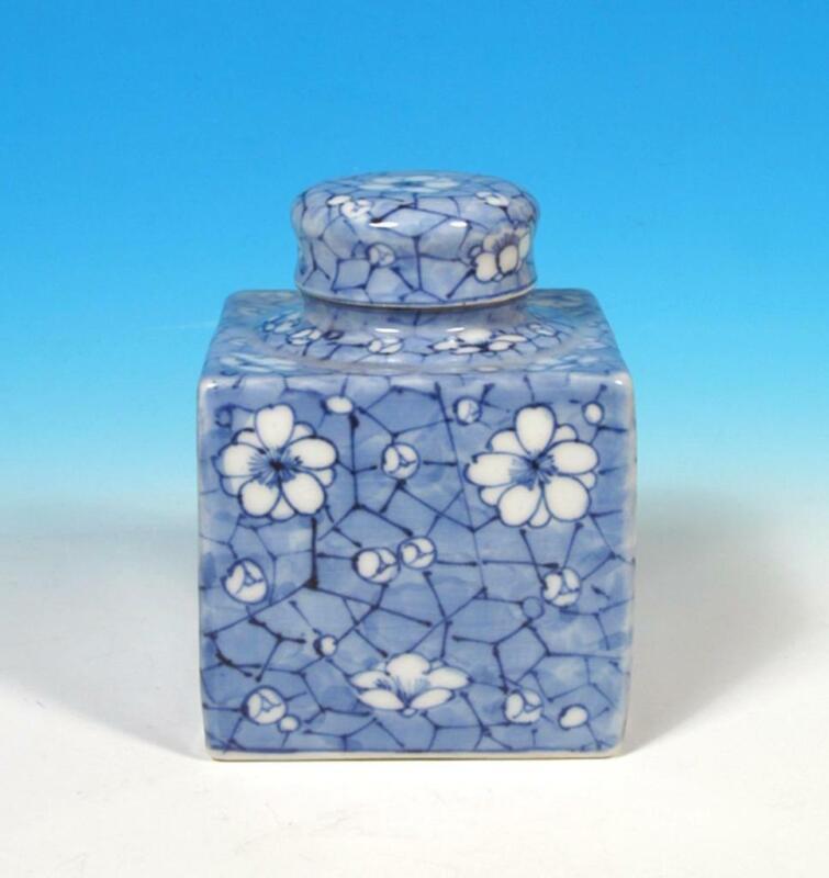 Japanese Vintage Antique Arita Porcelain Blue White Prunus Tea Caddy Snuff Jar