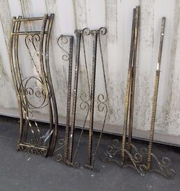 Batch of decorative ornamental metal rails / beams / supports, painted rustic gold