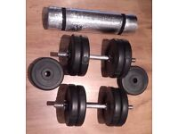 York Fitness Cast Iron Dumbbell Set (25 kg) + Exercise Mat