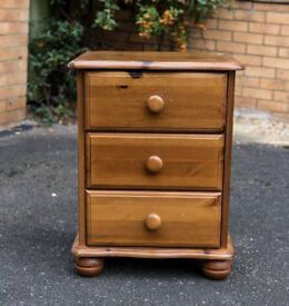 2 x Solid wood bedside cabinet