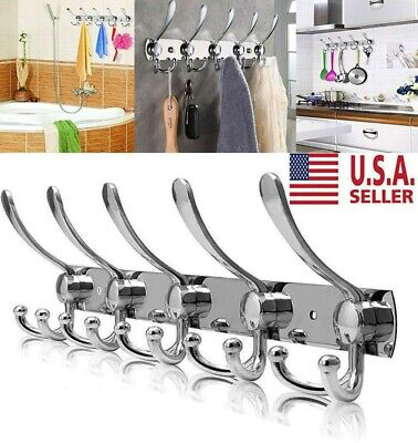 Stainless Steel Coat Hat Clothes Robe Wall Mount Hanger Towel Rack 15 Hooks US