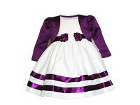 Ivory & Purple Flowergirl Dress & Jacket - 12-18 months