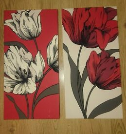 Pair of Cream and red flower canvas'
