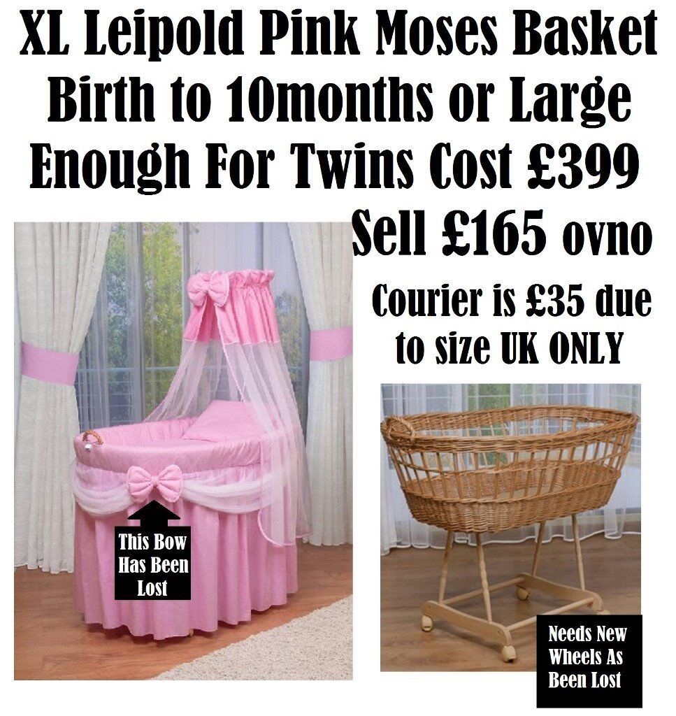 Leipold crib for sale - Can Post Extra Large Wide Romany Pink Princess Wicker Moses Basket Crib Cradle Leipold Or M J