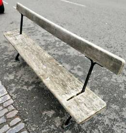 Vintage cast iron and pine railway bench