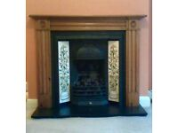 Victorian style iron fireplace (rrp 3k) with tiled inlay, solid pine surround, marble hearth.