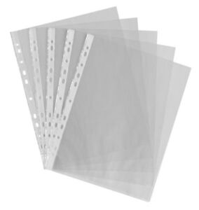 100 X A4 PLASTIC PUNCH PUNCHED POCKETS 30 MICRON FOLDERS FILING WALLETS SLEEVES