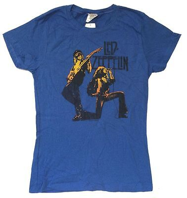 Led Zeppelin Duo Page Plant 1977 Tour Girls Juniors Blue T Shirt New Official