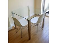 Glass Dining Table with 2 Chairs Set