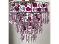 Pink chandelier style lampshade