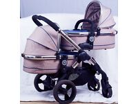 iCandy Peach Blossom Twin 3 with 2 carrycots, 2 seat units and 2 footmuffs.