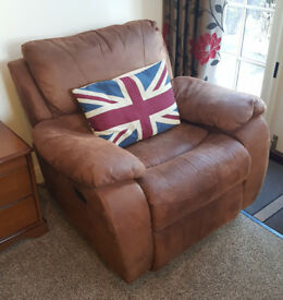 Harveys 'Bell Air' Tan, soft faux suede, rocking/ recliner chair