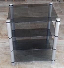 Hi-fi chrome and glass table