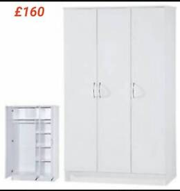 Beautiful 3 Door Wardrobe In White With Shelves