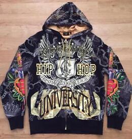 "Brand new authentic Christian Audigier men's luxury ""Hip Hop University"" designer hoodie. Large"