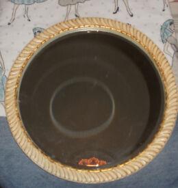 Vintage Wall Mirror Round Cream and Gold Bevelled Beveled Mirror 1950s 50s 60s Retro G-Plan Era