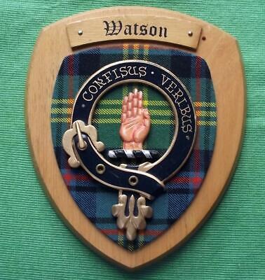 Celtic Vintage Old Scottish Carved Oak Clan Watson Tartan Plaque Crest Shield z