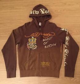 """Brand new vintage Ed Hardy """"Beast Of Burden"""" Large brown hoodie. Decorated in rhinestones"""