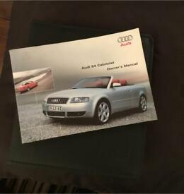 Audi S4 cab owners manual and Audi sales folder
