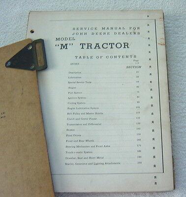 JOHN DEERE M TRACTOR OEM 1955 SERVICE MANUAL