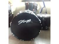 Stagg drum set kit complete , ready to play including sticks . Adult sized kit 5 piece