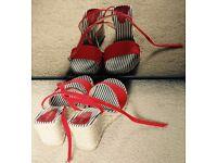 Kurt Geiger summer sandals , size 41. Red cotton straps and rope wedge heel.