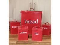Retro kitchen starter set-Full 5 piece storage for bread, tea, coffee, sugar & biscuits (RRP £39.99)