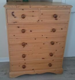 Solid Pine Wood Chest of Drawers | 6 Drawers | Traditional Style | H117 W92 D44