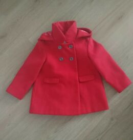 Red Next girls coat size 1 1/2 - 2 years