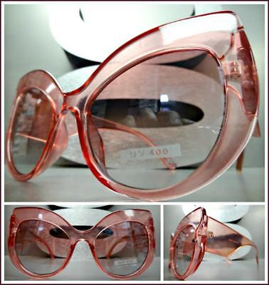 Oversized Exaggerated Vintage Retro Cat Eye Style SUN GLASSES Thick Pink (Pink Cat Eye Glasses)