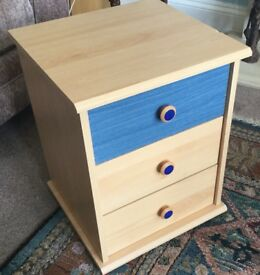 One Bedside Cabinet 3 Drawers with 1 Blue Drawer & Blue Handles H19in/48cmW15.5in/39cmD15in/38cm