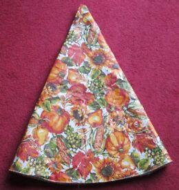 "TABLECLOTH, pretty Autumn colours & design, 60"" diameter, wipe clean surface, good condition"