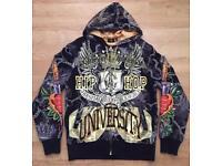 "Brand new authentic Christian Audigier men's luxury ""Hip Hop University"" designer hoodie, size large"