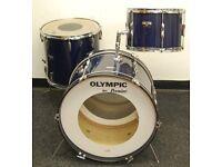 "Vintage 70s Premier Olympic Rock Drum Kit Shell Pack in Royal Blue 22,13,16"""