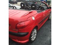 RED 2003 PEUGEOT 206 CC 1.6 CONVERTIBLE.FULL MOT. HPI CLEAR. 3 MONTHS WARRANTY