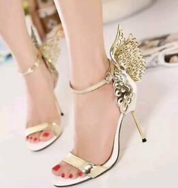 White & gold Butterfly sandals (Size 6)