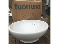 White ceramic hand basin, new still boxed.