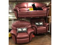 3 seater settee and 2 chairs with 1 manual recliner