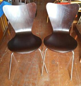 2 IKEA BENTWOOD CHAIRS / STAINLESS STEEL LEGS / DARK BROWN  OAKVILLE ON 905 510-8720