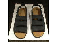 Hotter navy nubuck leather Gina sandals size 6.5 UK - unworn and in box