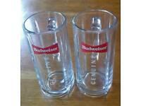 Two Budweiser Genuine Pint Glass Steins
