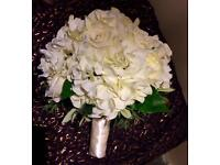 Cream silk flowers large bridal bouquet Diamanté