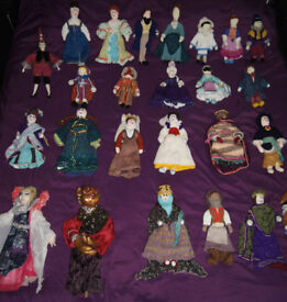 Collection of 25 Hand Made Dolls & Puppets in Period Costume