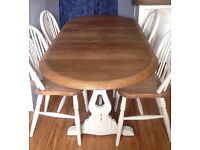 Extending dining table with 4 chairs,Solid Oak Refectory style , Shabby Chic.